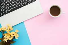 Creative flat lay photo of workspace desk. Top view office desk with laptop, plant and coffee cup on blue pink color background. royalty free stock image