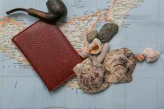 Creative Flat lay travel concept with pipe and shells Stock Images