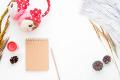 Creative flat lay of Winter concept with notebook, pencil, dried flowers and girl accessories on white Royalty Free Stock Photo