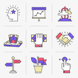 Creative Flat line icon set. Flat Line Icons Set. Business and Finance,Business Agreements, Mobile Banking, Success.Isolated Objects in a Modern Style for Your Royalty Free Stock Images