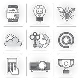 Creative Flat line icon set. Flat Line Icons Set. Business and Finance, dangerous idea, email address. Isolated Objects in a Modern Style for Your Design Royalty Free Stock Photography