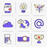 Creative Flat line icon set. Flat Line Icons Set. Business and Finance, dangerous idea, email address. Isolated Objects in a Modern Style for Your Design Royalty Free Stock Images
