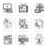 Creative Flat line icon set. Flat Line Icons Set.Online Movies, Post Production, Film and Television Collection.Isolated Objects in a Modern Style for Your Royalty Free Stock Image