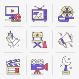Creative Flat line icon set. Flat Line Icons Set.Online Movies, Post Production, Film and Television Collection.Isolated Objects in a Modern Style for Your Royalty Free Stock Photo
