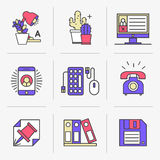 Creative Flat line icon set Royalty Free Stock Images