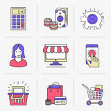 Creative Flat line icon set Stock Images