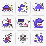 Creative Flat line icon set. Set of icons into flat style. Emergency, weather and natural disasters Stock Image