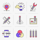 Creative Flat line icon set Royalty Free Stock Photography