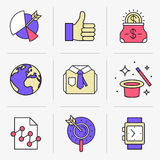 Creative Flat line icon set. Set of vector icons into flat style. Business and finance, market research, search engine optimization, promotion of a product Royalty Free Stock Photos