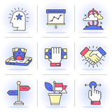 Creative Flat line ikon set. Flat Line Icons Set. Business and Finance,Business Agreements, Mobile Banking, Success. Objects in a Modern Style for Your Design Royalty Free Stock Photo