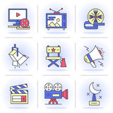Creative Flat line ikon set. Flat Line Icons Set.Online Movies, Post Production, Film and Television Collection. Objects in a Modern Style for Your Design Stock Images