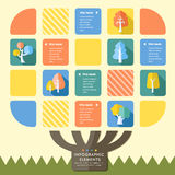 Creative flat style infographic with colorful tree elements stock illustration