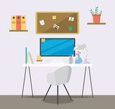 Creative flat workspace. Home room with workspace. Royalty Free Stock Photography