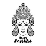 Creative Floral Frame based on Line Art with Beautiful Face of Maa Durga on decorative background for Hindu Festival Royalty Free Stock Photography