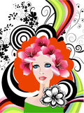 Creative floral girl. Creative and colorful complex illustration with woman's face and may colors, flowers and designs Stock Images