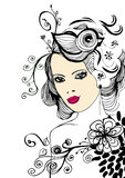 Creative floral girl. Creative and complex illustration with woman's face and flowers Stock Images