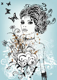 Creative floral girl. Creative and complex illustration with woman's face and flowers Stock Photos