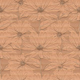 Creative floral wallpaper, Seamless pattern of chamomiles cardboard brown background. Creative floral wallpaper, Seamless pattern of chamomiles on a cardboard Stock Image