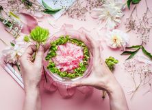 Creative Florist workspace. Female hands making pretty floral decoration arrangement with pink roses and green plant leaves in gla. Ss vase with water and Stock Image