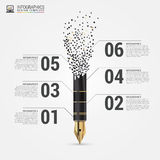 Creative flow chart with pen. Vector Stock Image