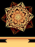 Creative Flyer with abstract flower star in  black Gold Royalty Free Stock Photo