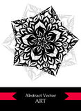 Creative Flyer with abstract flower star in black white red Stock Image