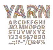 Creative font in the form of yarn threads. For decorative labels royalty free illustration