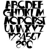 Creative font. Sharp fading black gradient creative font with letters and numbers. Tapered shapes are constituents of these ornamental objects Royalty Free Stock Photography