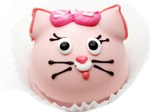 Creative food cakes for child funny animal form cat. Creative pastry food cakes collection funny animal cat for child birthday party stock images