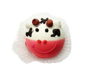 Creative food cakes for child funny cow animal form. Creative pastry food cakes funny funny cow animal for child stock image