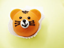 Creative food cakes for child funny tiger animal form. Creative pastry food cakes funny funny animal for child Royalty Free Stock Photography