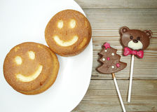 Creative food cakes and chocolate bear child dessert Stock Photography