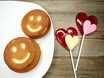 Creative food cakes and lollipops heart for valentine`s day Stock Image