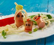 Creative food concept. Funny family for kids man made of Stock Image