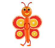 Creative food concept. Funny little butterfly made of fruits and Royalty Free Stock Photos