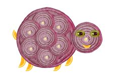 Creative food concept. Funny little turtle made of onions Stock Images