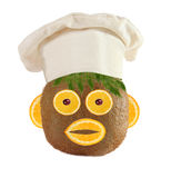 Creative food concept. Funny portrait of a cook, made of kiwi, f Royalty Free Stock Photos