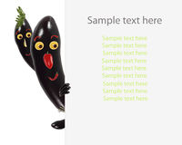 Creative food concept. Little funny eggplant look  and smile wit Royalty Free Stock Images