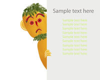 Creative food concept. Little funny pepper looks  with sample te Stock Photo