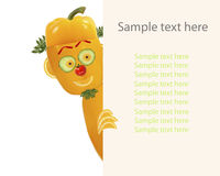 Creative food concept. Little funny pepper looks  and smiles wit Royalty Free Stock Photography