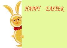 Creative food concept. Little funny yellow rabbit with text Happ. Y Easter Stock Images