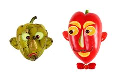 Creative food concept. Positive and negative portraits made of g Stock Photo