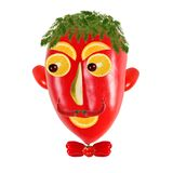Creative food concept. Positive  portraits made of  red pepper. Royalty Free Stock Photos