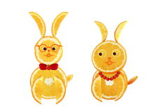 Creative food concept. Two funny easter yellow rabbits Stock Photography