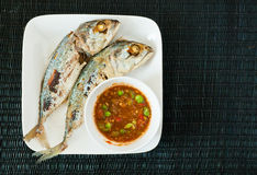 Creative food of Fried Mackerel fish,chili sauce Royalty Free Stock Images