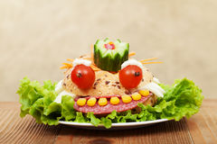 Creative food - the frog king sandwich Royalty Free Stock Images
