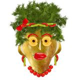 Creative food. Funny woman portret made from pears  and orange Stock Photos