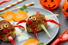 Creative food idea meatballs with colorful bell pepper shaped fu Stock Image