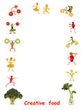 Creative food. Little funny people made of vegetables and fruits Stock Photos