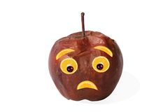 Creative food. Negative portrait made of apple